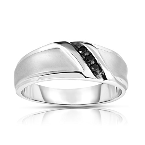 Noray Designs 14K White Gold Black Diamond (0.08 Ct, I1-I2 Clarity, Black Color) Men's 3-Stone Ring by Noray Designs