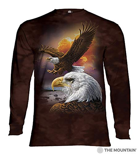 The Mountain Eagle & Clouds Adult Long Sleeve T-Shirt, Brown, Medium (Eagle Long Sleeve Shirt)