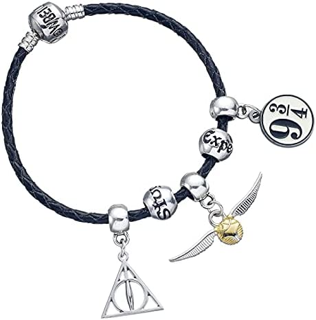 HARRY POTTER Black Charm Bracelet with 3 x Charms & Spell Beads