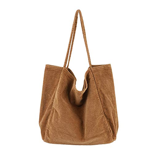 BOBILIKE Women Shoulder Bags Corduroy Bag Handbag Work Bags Schoolbag, Brown