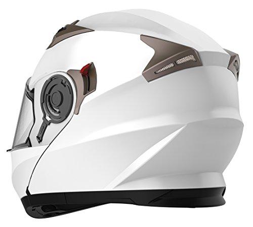 Motorcycle Modular Full Face Helmet DOT Approved - YEMA YM-925 Motorbike Street Bike Racing Helmet with Sun Visor Men and Women - White, M