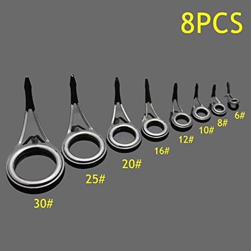 20 X Keramik Auge Ringe Angelrute Guides Tipps Edelstahlrahmen 6 # 8 #
