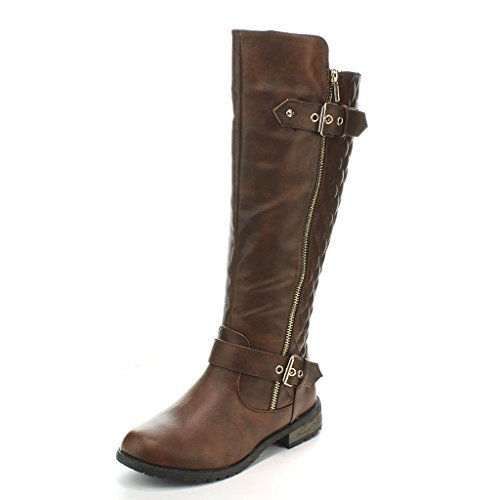 Forever Mango-21 Women's Winkle Back Shaft Side Zip Knee High Flat Riding Boots Brown ()
