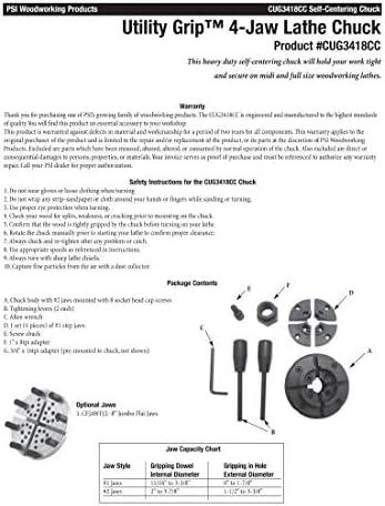 PSI Woodworking CUG3418CC Utility Grip Sistema de mandril de torno de 4 mordazas