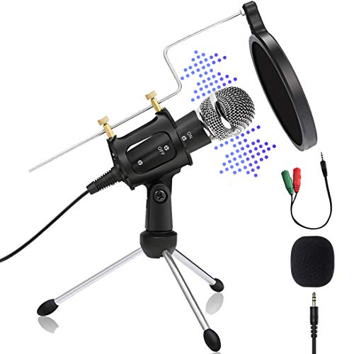 Condenser Microphone for Computer PC Studio Podcast Microphone 3.5 mm Plug and Play Recording Gaming Microphone with Pop Filter for Skype YouTube Phone Mic
