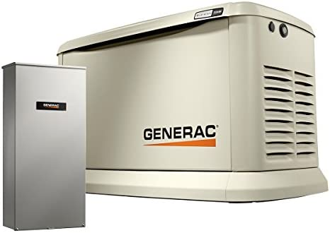 Generac 70432 Home Standby Generator Guardian Series 22kW 19.5kW Air Cooled with Wi-Fi and Transfer Switch, Aluminum