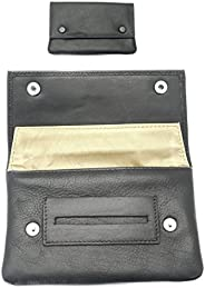 Premium Soft Black Leather Tobacco Pouch.