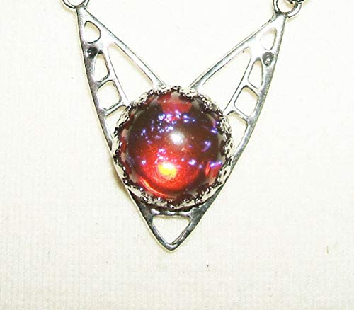 CZECH GLASS MEXICAN FIRE OPAL NECKLACE DRAGONS BREATH SILVER PLATED ART DECO
