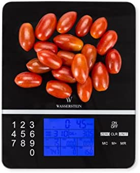 Wasserstein Digital Nutrition Scale; Nutrition Facts Display Scale – Accurate Food and Nutrient Calculator (Black)