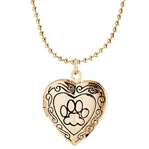 Best Cat Mom Ever Paw Print Heart Locket Necklace Pendant for Women Child Picture Photo Gold -