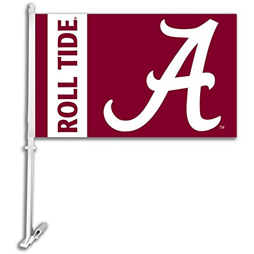 Alabama Crimson Tide CAR FLAG w/Wall Brackett Set of 2 - NCAA (Crimson Car Tide Alabama Flag)