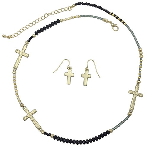 Gypsy Jewels Simple Christian Sideways Cross Matte Gold Tone Multi Color Necklace & Earrings Set (Black White & - Ring Color Cross Multi