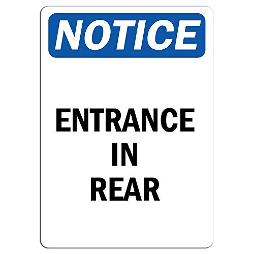 (Notice Entrance in Rear Sign Store Sign Metal Tin Sign Home Decor Aluminum Sign for Garage Driveway)