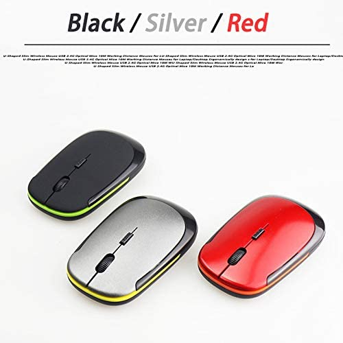 Wireless Mouse USB 2.0 Receiver Super Slim Mini Cute Optical 2.4G Wireless Mouse USB Right Scroll Mice for Laptop PC Video Game red