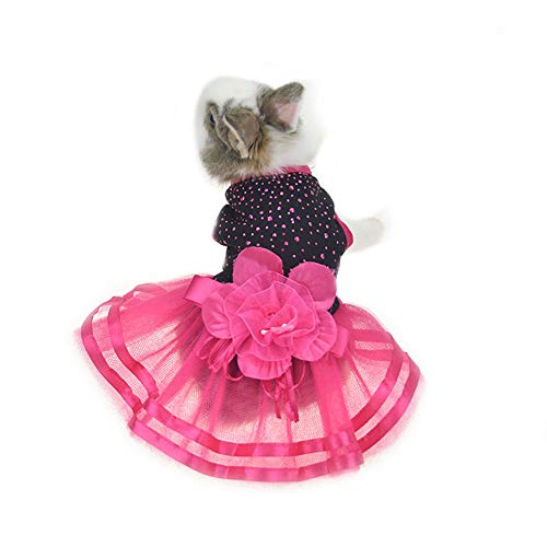 FLAdorepet Cute Bunny Rabbit Dress Teacup Chihuahua Yorkie Clothes Costume Small Animal Accessories (XS(Bust 10.2inch), Rose -