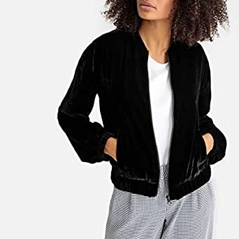 La Redoute Collections Womens Velour Bomber Jacket Black Size 4 - Fr 34