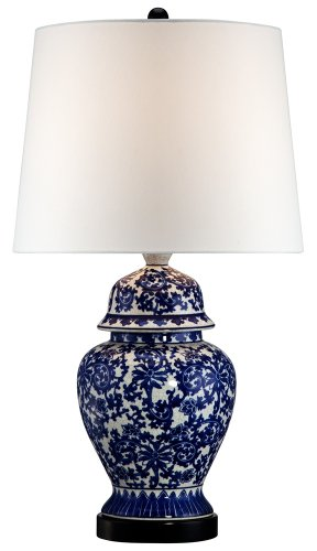 Ginger Lamp Jar Porcelain (Blue and White Porcelain Temple Jar Table Lamp)