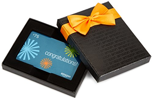 Amazon.com $75 Gift Card in a Black Gift Box (Congratulations Starbursts Card Design)