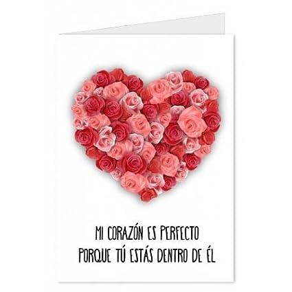 CGN Tarjeta Amor Corazon Flores 15x23 cm: Amazon.es ...