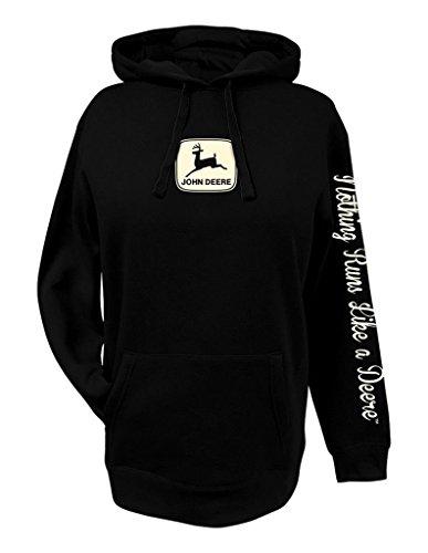 John Deere Womens Hoodie Black NRLAD-Small