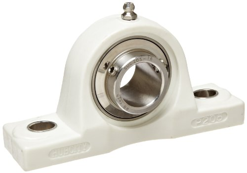 Hub City PB251CTWX1 Pillow Block Mounted Bearing, Normal Duty, High Shaft Height, Relube, Setscrew Locking Collar, Wide Inner Race, Composite Housing, Stainless Insert, 1