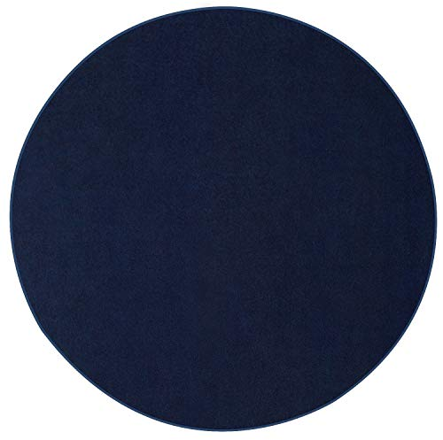 Indoor/Outdoor Navy Area Rugs with Premium Non Skid Backing Great for Patio, Porch, Deck, Party, Garage, Boat, Event, Basement, Wedding Tents and More Available Size 12' Round ()