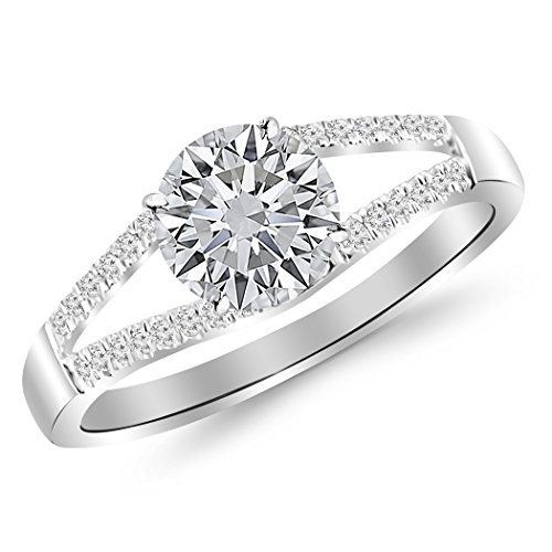 0.45 Carat t.w. 14K White Gold Round Curving Split Shank Diamond Engagement Ring G-H SI1-SI2 - 0.45 Ct Tw Round Diamonds