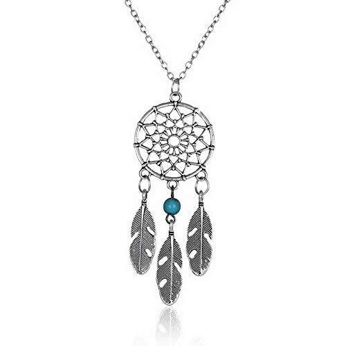 Kaputar Retro Boho Dream Catcher Turquoise Feather Pendant Tassel Chain Necklace Jewelry | Model NCKLCS - 18735 |]()