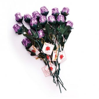 Lavender Sweetheart Solid Milk Chocolate Roses Bouquet (12 Pcs) (Chocolate Roses Bouquet)