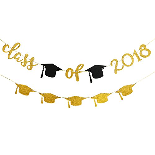 Gold Glittery Class of 2018 Banner and Gold Glittery Graduation Cap Garland -Graduation/Grad Party Decorations