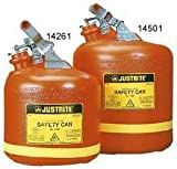 Justrite 14561 Nonmetallic Type I Round Safety Can for Flammables, Stainless Steel Hardware, 12.75'' Outside Diameter, 16'' Height, 5 gal, Polyethylene, Red