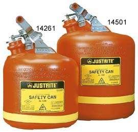 Justrite 14261 Nonmetallic Type I Round Safety Can for Flammables, Stainless Steel Hardware, 10.75'' Outside Diameter