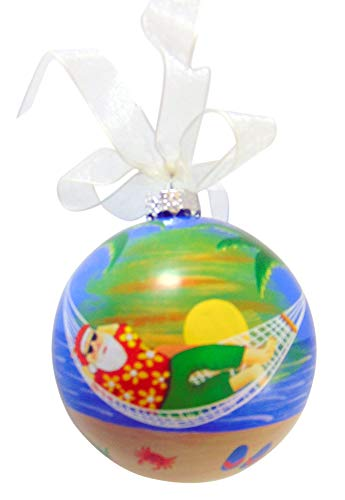 Beach Santa Claus Christmas Ball Ornament Key West Tree Decoration with Hand Painted