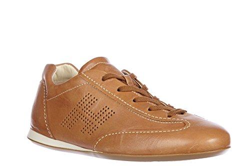 Hogan chaussures baskets sneakers femme en cuir olympia lace up vintage marron