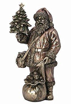 (9.13 Inch Santa Holding Xmas Tree Cold Cast Bronze Sculpture Figurine)