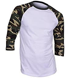 Dream USA Men\'s Casual 3/4 Sleeve Baseball Tshirt Raglan Jersey Shirt Dark Camo Medium