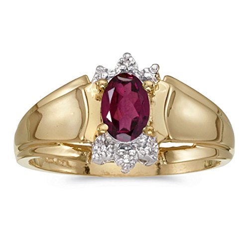FB Jewels 14k Yellow Gold Genuine Red Birthstone Solitaire Oval Rhodolite Garnet And Diamond Wedding Engagement Statement Ring - Size 7.5 (1/2 Cttw.)