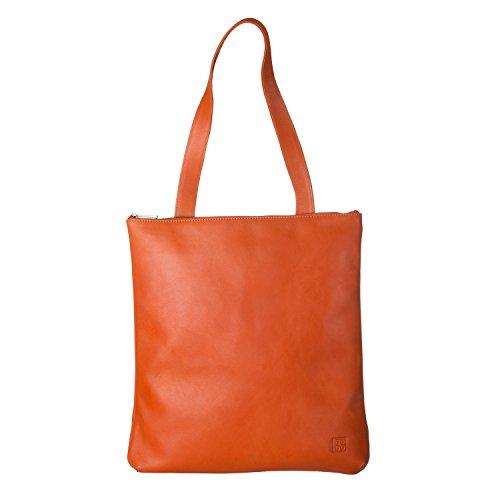 DUDU Borsa Shopper a spalla da donna in Vera Pelle Grande e Spaziosa con chiusura a Cerniera zip Arancio