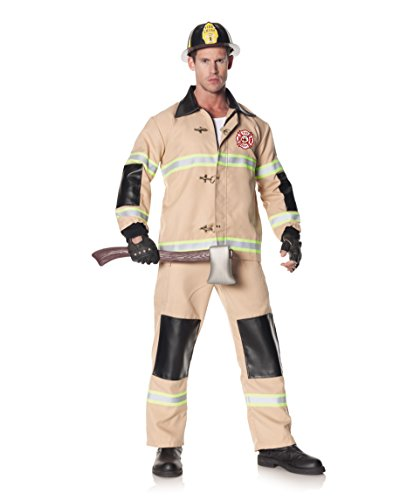 Underwraps Men's Rescuer, Tan, One Size (Mens Sexy Firefighter Costume)
