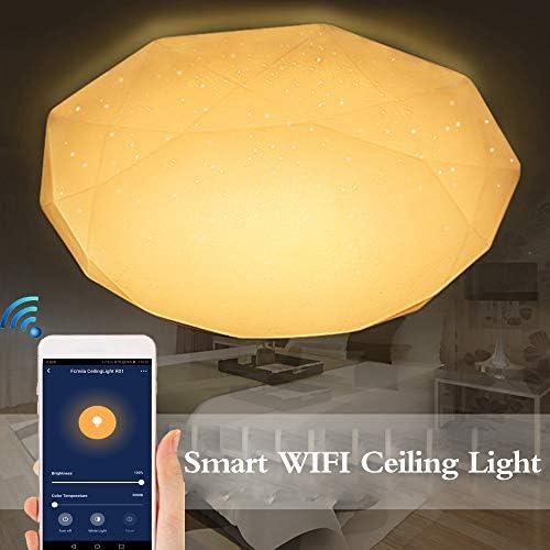 Luz de Techo WiFi Inteligente 48W Luces LED Regulables sin escalones Aplicación de Inteligencia en la Nube Control Remoto Función de sincronización Control de Voz Compatible con Amazon Alexa/Google