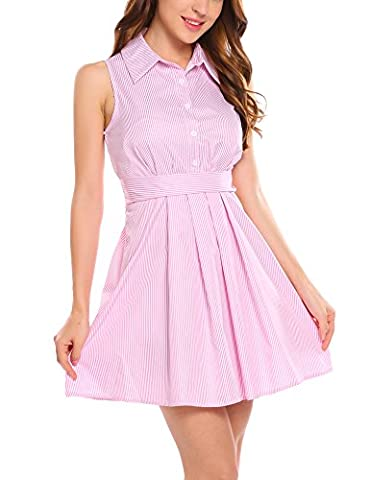 Zeagoo Women Casual Sleeveless A Line Flare Mini Shirt Dress with Belt,Pink,Small - Flare Mini Dress