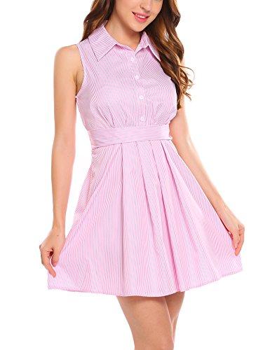 Zeagoo Women Casual Sleeveless A Line Flare Mini Shirt Dress with Belt,Pink,Large