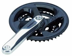 Shimano 6550 Tourney - Plato y biela de aluminio para bicicleta (170 mm, 48 / 38 / 28 dientes, con anillo protector de cadena), color plateado y negro