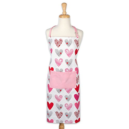 DII Cotton Sweet Heart Women Kitchen Apron with Pocket and Extra Long Tie, Cute Cooking and Baking Apron for Valentine's day, Mother's day, Birthday gifts-Love Collage