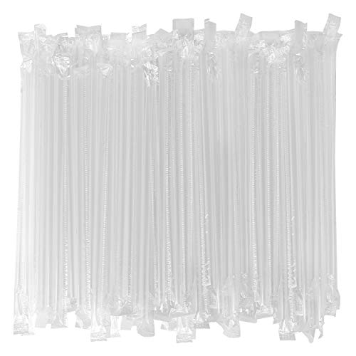 - Individually Wrapped Disposable Drinking Straws - 7 3/4 Inches Long - Standard Size (Clear - Plastic Wrapped, 500)