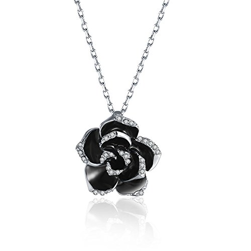 Scheppend Gold Plated Rose Flower Black Paint Rhinestone Crystal Pendant Necklace (Platinum) ()