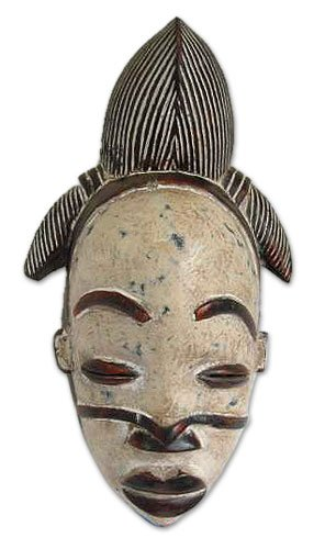 NOVICA Decorative Gabonese Large Sese Wood Mask, White, 'Punu Beauty'