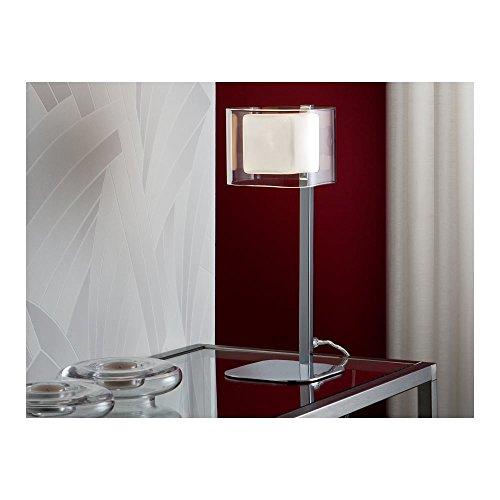 Schuller Spain 183542I4L Modern Chrome Cube Table Lamp opal 1 Light Living Room, bed room, Study, Bedroom LED, Glass shade cube desk lamp | ideas4lighting by Schuller