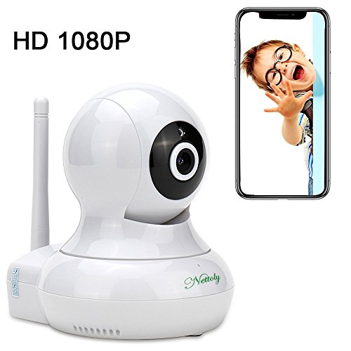 Security Cameras WiFi IP 1080P Camera Wireless Surveillance Cameras Dog/Baby Monitor Video Cam Night Vision Plug/Play Pan/Tilt with Two-Way Audio 1+3M Power Cable Extension Cable Nettoly by Nettoly