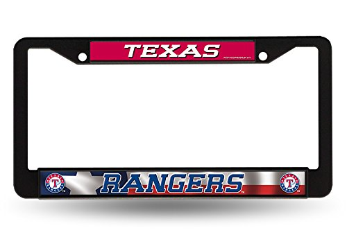 fficial MLB 12 inch x 6 inch Black License Plate Frame by 923365 (Texas Rangers Frame)